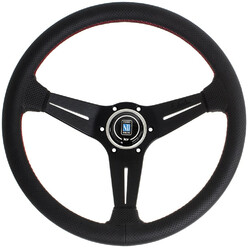 Nardi Deep Corn Steering Wheel, Black Perforated Leather, Black Spokes, Red Stitching, 75 mm Dish, Ø35 cm
