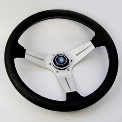 Nardi Deep Corn Steering Wheel - Perf. Leather with Satin Spokes & Grey Stitching - 350mm