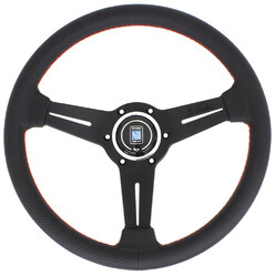Nardi Classic ND33 Steering Wheel, Black Perforated Leather, Black Spokes, Red Stitching, 40 mm Dish