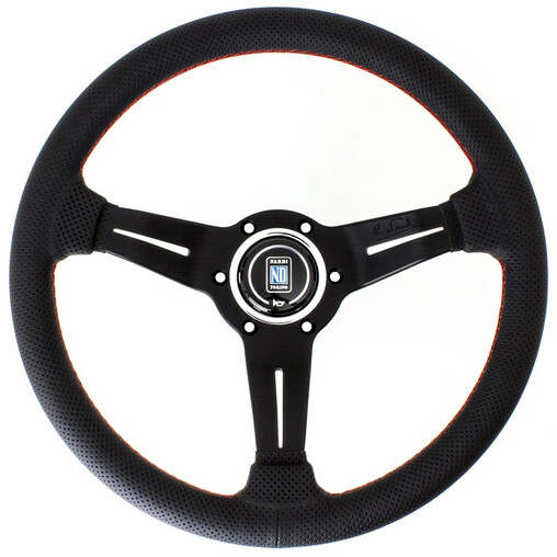 Nardi Deep Corn Steering Wheel, Black Perforated Leather, Black Spokes, Red Stitching, 50 mm Dish, Ø33 cm