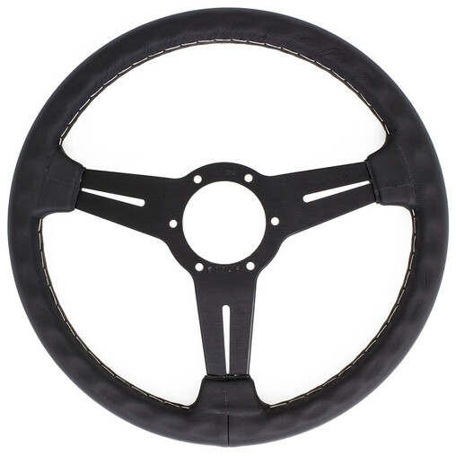Nardi Classic ND33 Steering Wheel, Black Leather, Black Spokes, Grey Stitching, 40 mm Dish