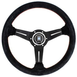 Nardi Deep Corn Steering Wheel, Suede, Black Spokes, Red Stitching, 50 mm Dish, Ø33 cm