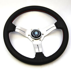 Nardi Deep Corn Steering Wheel, Black Perforated Leather, Satin Spokes, Red Stitching, 50 mm Dish, Ø33 cm