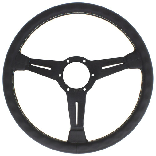 Nardi Classic ND36 Steering Wheel, Black Leather, Black Spokes, Grey Stitching, 40 mm Dish