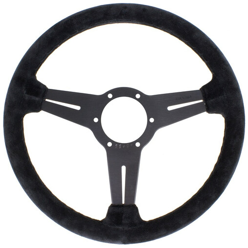Nardi Classic ND33 Steering Wheel, Suede, Black Spokes, Black Stitching, 40 mm Dish