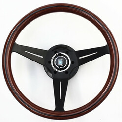 Nardi Deep Corn Steering Wheel, Wood, Black Spokes, 75 mm Dish, Ø35 cm