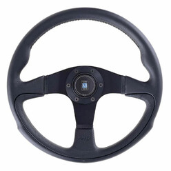 Nardi Challenge Steering Wheel, Black Leather, Black Spokes, Black Stitching, 45 mm Dish, Ø35 cm
