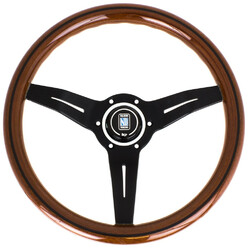 Nardi Deep Corn Steering Wheel, Wood, Black Spokes, 50 mm Dish, Ø33 cm