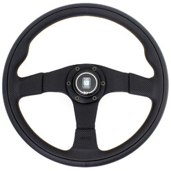 Nardi Twin Line Steering Wheel, Black Leather, Black Spokes, Ø35 cm