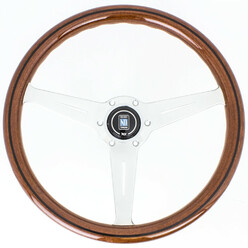 Nardi Classic ND36 Steering Wheel, Wood, Black Inlay, Chrome Spokes, 40 mm Dish