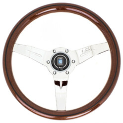 Nardi Deep Corn Steering Wheel, Wood, Chrome Spokes, 50 mm Dish, Ø33 cm