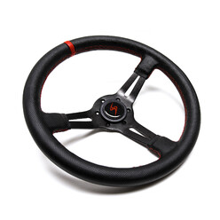 DriftShop Steering Wheel (70 mm Dish), Perforated Leather, Black Spokes