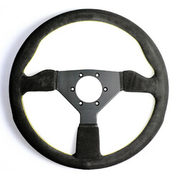Personal Grinta Steering Wheel - 330 mm -  Black Suede, Black Spokes, Yellow Stitching