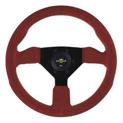 Personal Grinta Steering Wheel - 330 mm -  Red Suede, Black Spokes, Yellow Stitching