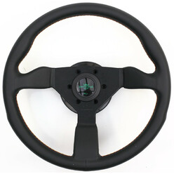 Personal Grinta Steering Wheel - Kingston Edition 330 mm -  Black Leather, Black Spokes, Rasta Stitching
