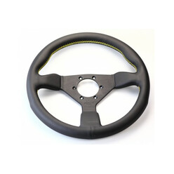 Personal Grinta Steering Wheel - 350 mm -  Black Leather, Black Spokes, Yellow Stitching