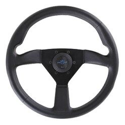Personal Neo Eagle Steering Wheel - 350 mm -  Black Leather, Black Spokes, Blue Stitching