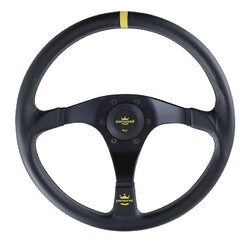 Personal Trophy Steering Wheel - 350 mm -  Black Leather, Black Spokes, Yellow Stitching