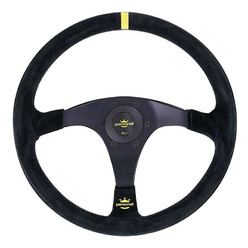 Personal Trophy Steering Wheel - 350 mm -  Black Suede, Black Spokes, Yellow Stitching