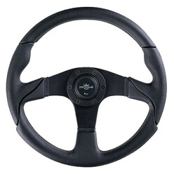 Personal Thunder Steering Wheel - 350 mm -  Black Leather, Black Spokes