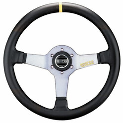 Sparco L550 Steering Wheel (63 mm Dish), Black Leather, Aluminium Spokes