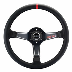 Sparco L575 Steering Wheel (63 mm Dish), Black Leather, Black Spokes