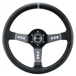 Sparco L777 Steering Wheel (63 mm Dish), Black Leather, Black Spokes