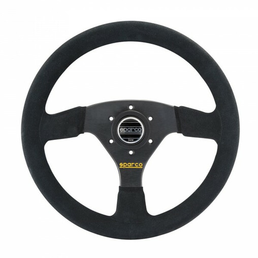 Sparco R323 Steering Wheel (39 mm Dish), Black Suede, Black Spokes