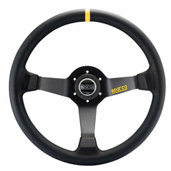 Sparco R345 Steering Wheel (63 mm Dish), Black Leather, Black Spokes