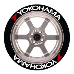 Yokohama Tire Stickers, Permanent - Raised Rubber