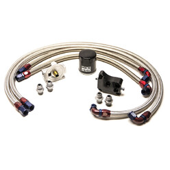 SR20DET Oil Filter Relocation Kit - Hoses and Sandwich Plate
