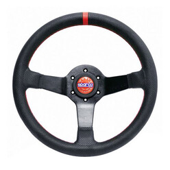 Sparco Champion 330 mm Steering Wheel (65 mm Dish), Black Leather, Black Spokes