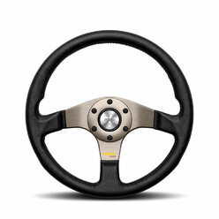 Momo Tuner Steering Wheel (40 mm Dish), Black Leather, Anthracite Spokes - 32 cm