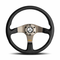 Momo Tuner Steering Wheel (36 mm Dish), Black Leather, Anthracite Spokes - 35 cm