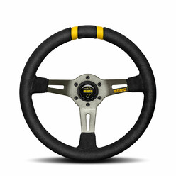 Momo Drifting Steering Wheel (88 mm Dish), Black Suede, Anthracite Spokes - 33 cm