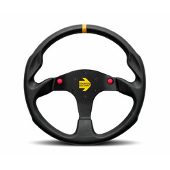 Momo Mod. 80 Steering Wheel, Black Leather, 2 Buttons - 35 cm