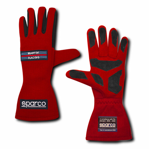 "Sparco Land Classic ""Martini Racing"" Gloves, Red (FIA)"