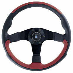 Nardi Leader Steering Wheel, Red Leather, Black Spokes, Ø35 cm