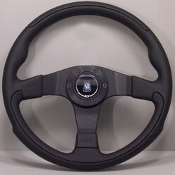 Nardi Leader Steering Wheel, Black Leather, Black Spokes, Ø35 cm