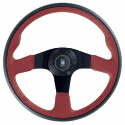 Nardi Twin Line Steering Wheel, Red Leather, Black Spokes, Ø35 cm