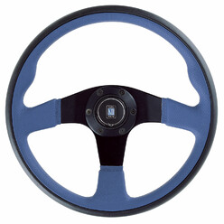 Nardi Twin Line Steering Wheel, Blue Leather, Black Spokes, Ø35 cm