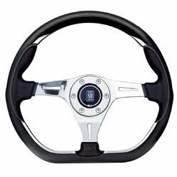 Nardi Kallista Steering Wheel, Black Leather, Chrome Spokes, Ø35 cm