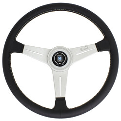 Nardi Classic ND34 Steering Wheel, Black Leather, Satin Spokes, Grey Stitching, 40 mm Dish