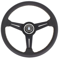 Nardi Classic ND34 Steering Wheel, Black Leather, Black Spokes, Grey Stitching, 40 mm Dish