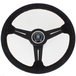 Nardi Classic ND34 Steering Wheel, Suede, Black Spokes, Black Stitching, 40 mm Dish