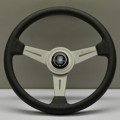 Nardi Classic ND34 Steering Wheel, Black Perforated Leather, Satin Spokes, Grey Stitching, 40 mm Dish