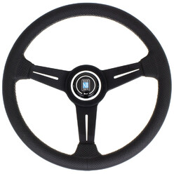 Nardi Classic ND34 Steering Wheel, Black Perforated Leather, Black Spokes, Grey Stitching, 40 mm Dish
