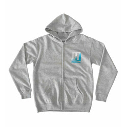 Hoonigan Logo Lines Kids Zipped Hoodie - Heather Grey