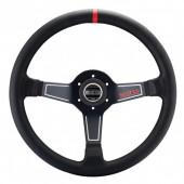 Sparco L575 Steering Wheel (63 mm Dish), Black Leather, Black Spokes