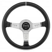 Sparco L777 Steering Wheel (63 mm Dish), Black Leather, Aluminium Spokes